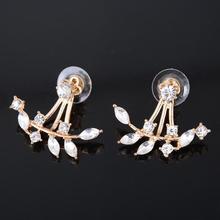 Women Lady Elegant Crystal Rhinestone Ear Stud Earrings Front Back Two Sides Leaf Shape Fashion Jewelry