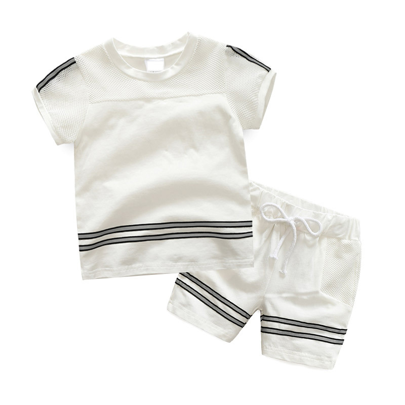 Baby Sports Suit Summer Boy Childrens Cotton Clothing Boys Leisure Breathable Short Sleeve T-shirt + Short Pants Suit