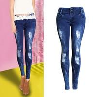 Sweetheart Blue Jeans Mid Taille Uitgerekt Slim Potlood Denim Skinny Stretchable Volledige Lengte Bekrast Romantische Sexy Vrouwen Jeans