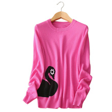 4 colors swan printing Women's slim-fitting pullovers sweater pure cashmere full sleeve clothings autumn winter outwear