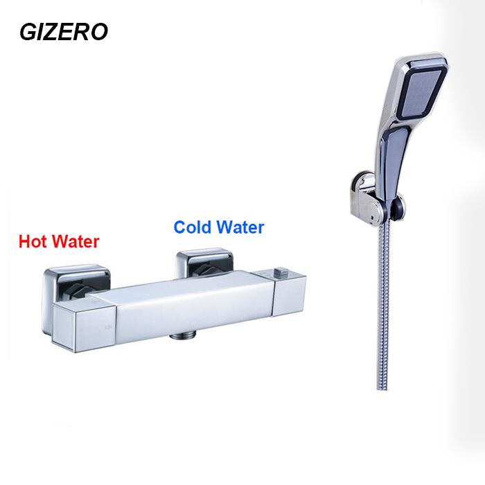 GIZERO Thermostatic Shower Set Bathroom Wall Mounted Bathtub Faucet Chrome Polished ABS Hand Shower ZR995 polished chrome double cross handles wall mounted bathroom clawfoot bathtub tub faucet mixer tap w hand shower atf902