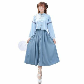 Poem snow Republican style suit long sleeve long skirt embroidered by women