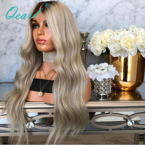 Image 5 - Human Hair Full Lace Wigs Ombre Ash Blonde Grey with Dark Roots Remy Hair Body Wave Full Wig Pre Plucked Baby Hairs 150% Qearl