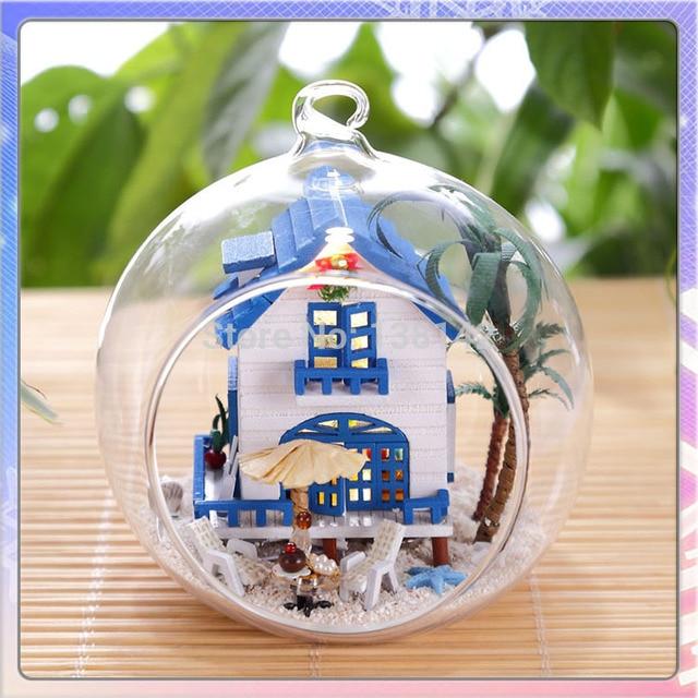 MG008 mini bola de vidro Do Mar Egeu casa de boneca diy casa de bonecas de vidro Handmade mini casa modelo