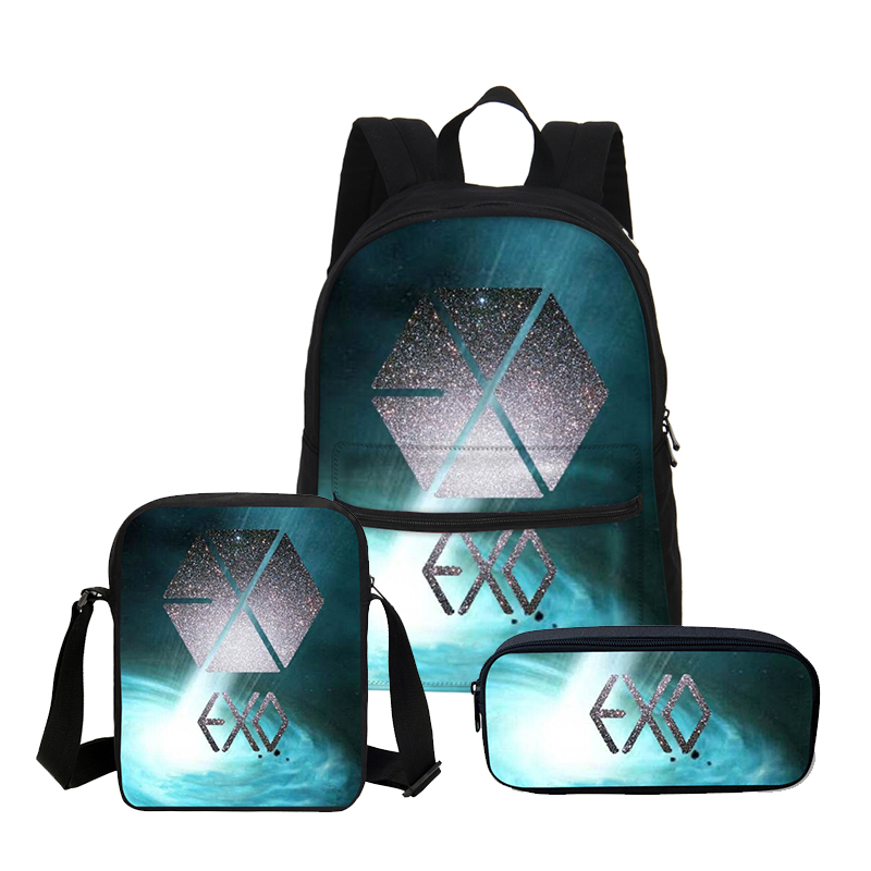 3 Pcs/set Veevanv Canvas School Bag Exo Letter Printed Backpack Children Shoulder Bag Fashion Mochila Girls Bookbag Boy Backpack