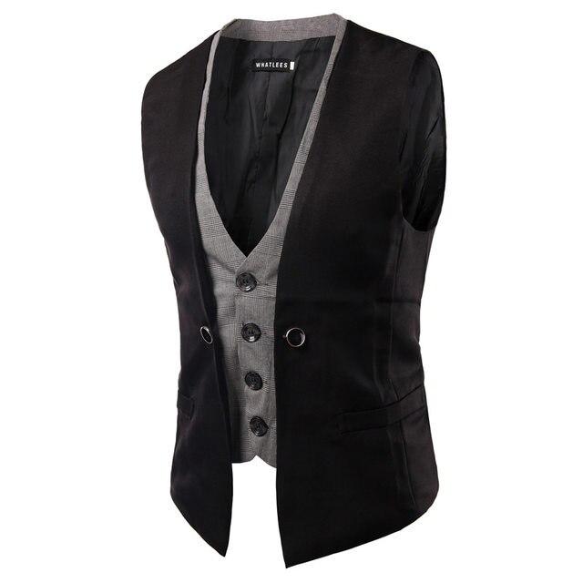 Online Shop Men Vest Suit Waistcoats British Style Wedding Groom ...
