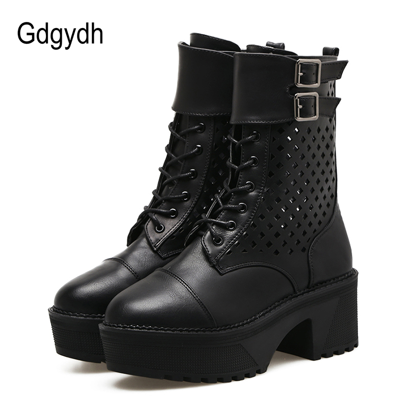 Gdgydh 2018 Fashion Female Motorcycle Boots Women Platform Boots Round Toe High Heels Autumn Shoes Ladies for Party Boots Heel gdgydh women platform heels ankle boots zipper high heels female booties shoes black round toe ladies shoes big size 2018 autumn