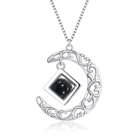 AILIN Customized Hollow Moon With A Bead With The Geometric Cube Pendant Necklace In Sterling Silver For Birthday Gift For Women