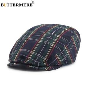 Image 2 - BUTTERMERE נשים משובץ שטוח כובעי זכר מזדמן כותנה בציר כומתות כובעי קיץ אביב קלאסי משובץ אופנתי גטסבי כובע