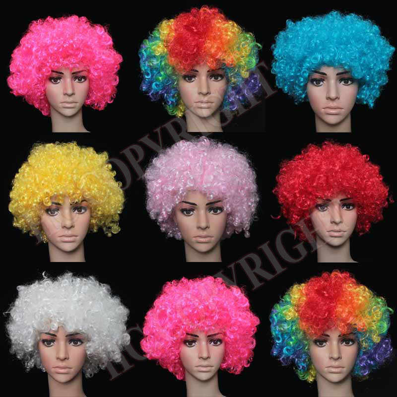 2018 Dress up Explosion Styles Wigs Curly Hair Football Fans Party Hats Headwear Birthday Party Decoration Carnival Christmas