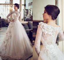 Hot sale Long A-line vestidos de novias Bridal Gowns wedding Dresses 2015 Sleeve Flower Lace applique Wedding Dress