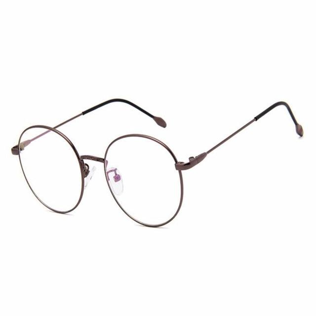 Retro Style Round Metal Frame Glasses Clear Lens Eyewear Spring ...