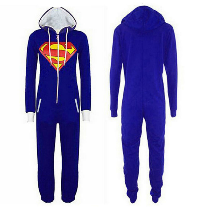 Unisex adult onesie pajamas batman superman costume cosplay sleepwear halloween