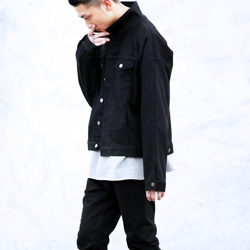 2017 New Style Drop Shoulder Coffee Black Denim Jacket Mens Hiphop