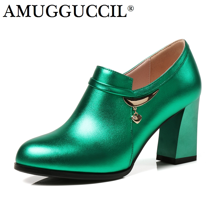 2018 New Genuine Leather Plus Big Size 31-45 Green Silver Zip Fashion Sexy High Heel Spring Female Lady Shoes Women Pumps D1182 aiyuqi 2018 spring new women s genuine leather shoes waterproof platform sexy plus size 41 42 43 fashion heel shoes female