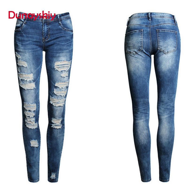 Dunayskiy Skinny Slim Stretched Women   Jeans   Low Waist Ripped Hole Boyfriend Denim   Jeans   Pencil Pants Trousers Vintage Bleached