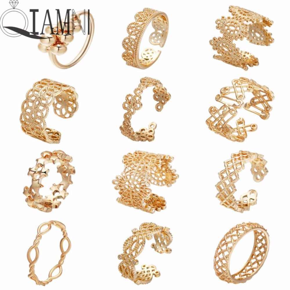 Qiamni Warna Emas Bunga Stackable Jari Cincin Pernikahan Wanita Berjaga-jaga Cocktail Hollow Geometris Toe Foot Perhiasan Pesta Bague Femme