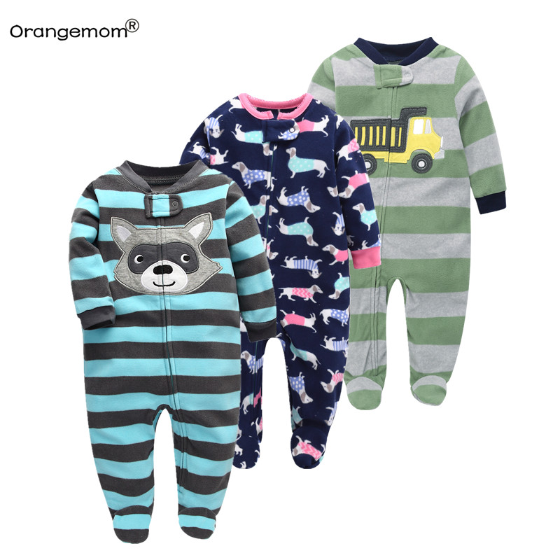 Newborn 12M baby boys 2018 spring baby Rompers soft Baby Boys romper warm fleece Baby Jumpsuit