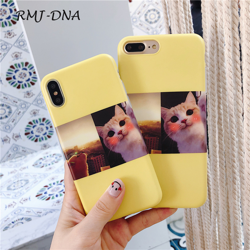 RMJ-DNA Cute Cat Phone Case For iphone X Case For iphone 6 6S 7 8 Plus Cover Fashion TPU Lovely Cartoon Cat Cases 7 8 case Coque