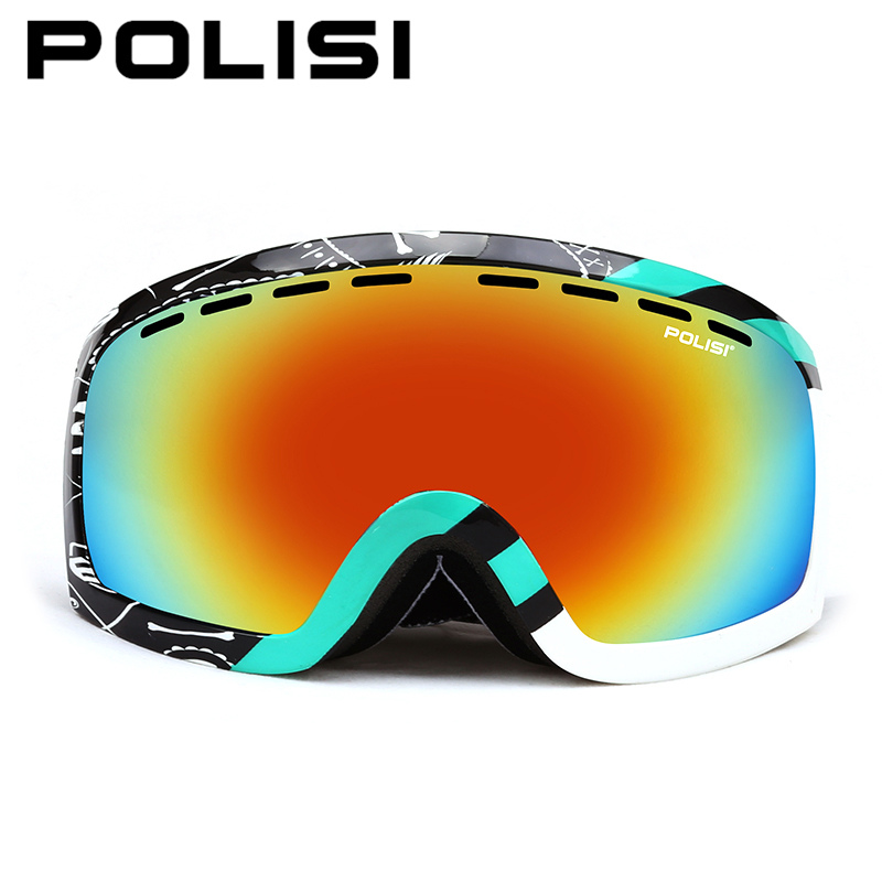 POLISI Winter Outdoor Skiing Glasses Polarized Snowmobile Snow Eyewear Men Women Double Layer Anti-Fog Lens Snowboard Goggles 100% brand barstow retro motorcycle glasses anti fog wind skiing glasses mtb road eyewear tear off film cycling glasses men