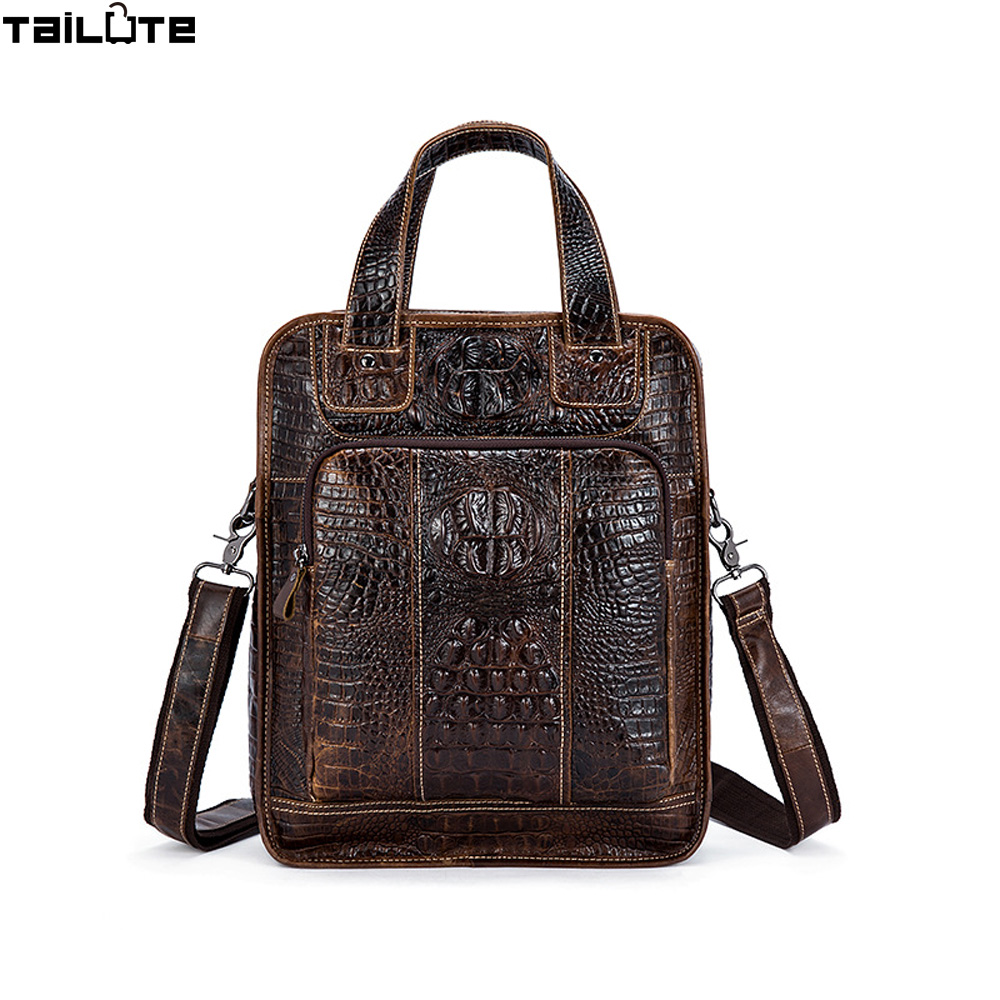 Alligator Genuine Leather Men Bag Briefcase Fashion Man Business Handbag Men's Messenger Bags Brand Male Shoulder bag Tote motorcycle radiator grille grill guard cover protector golden for kawasaki zx6r 2009 2010 2011 2012 2013 2014 2015