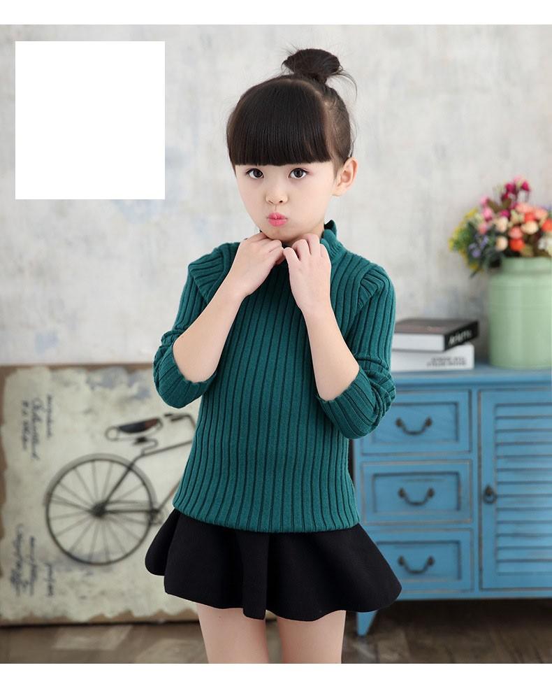 knitting big baby girls sweaters kids winter sweater 2016 long sleeve tops knitted kids sweaters girls pink green black kids top (6)