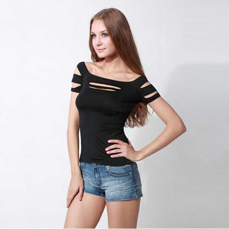 Популярная модная сексуальная женская одежда для девочек, Черная майка с дырками на груди, майка, топы, Женская Клубная одежда, одежда для футболок