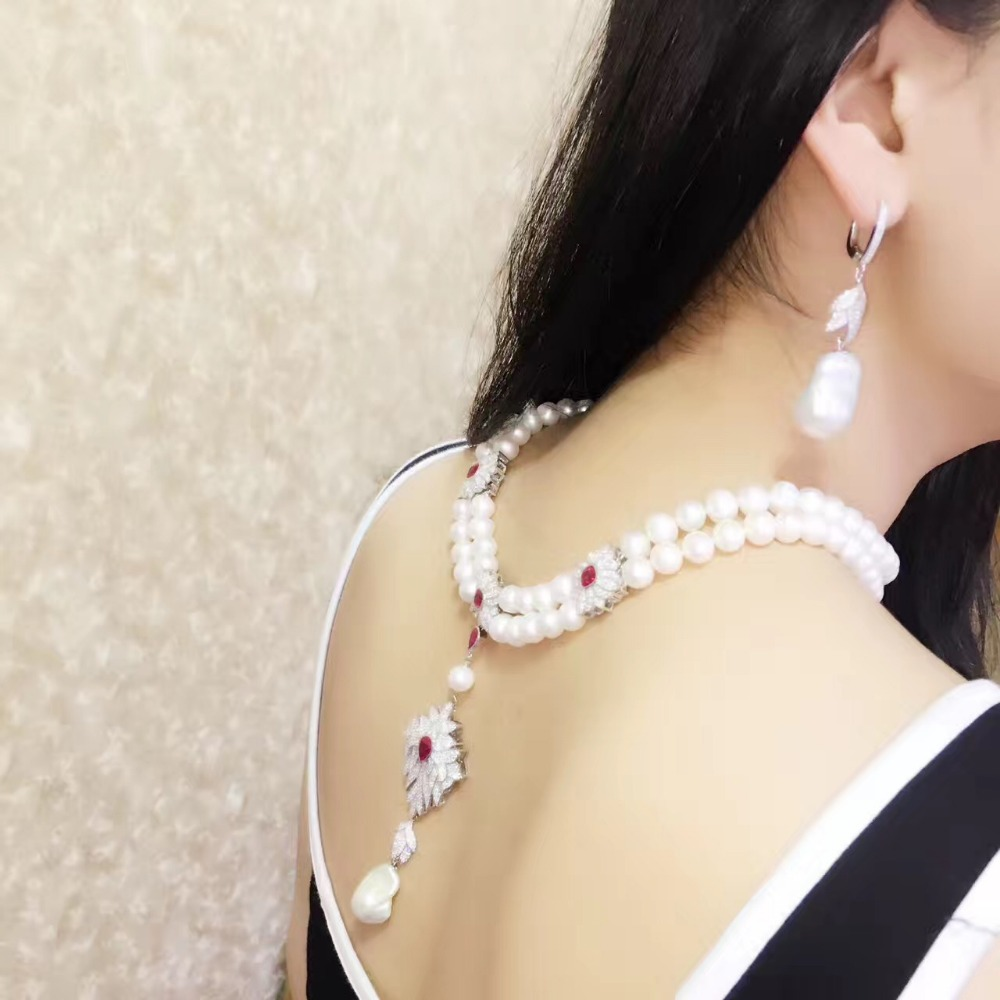 gemstone fine women jewelry real natural fresh water pearl pendant necklace wedding necklace 925 sterling silver double layers jewelry set natural pearl necklace and drop earring gemstone jewelry 925 sterling silver party necklace double layers fine jewel