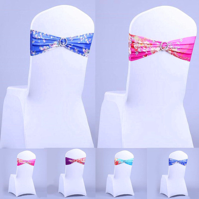 wedding chair sash accessories inexpensive folding beach chairs 1pcs spandex flower pattern bands decorative sashes accessory banquet seat decoration for 56034