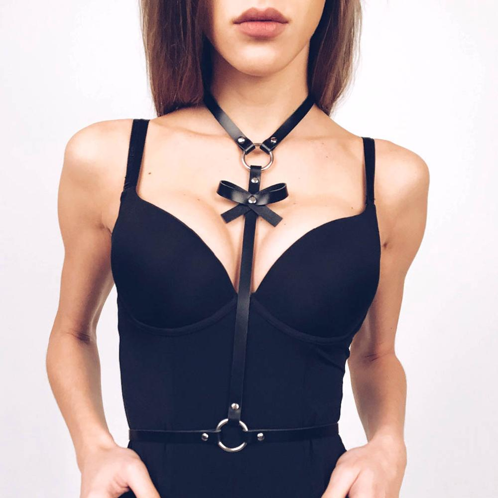 Bow Leather body harness Goth Belt strap Waist body chain women festival girls Punk lingerie cage harness rave babe jewelry 1