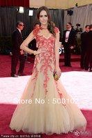 2013 85th Oscar Awards Louise Roe Jewel Cap Sleeve Coral Embroideried Nude Color Floor Length Evennig
