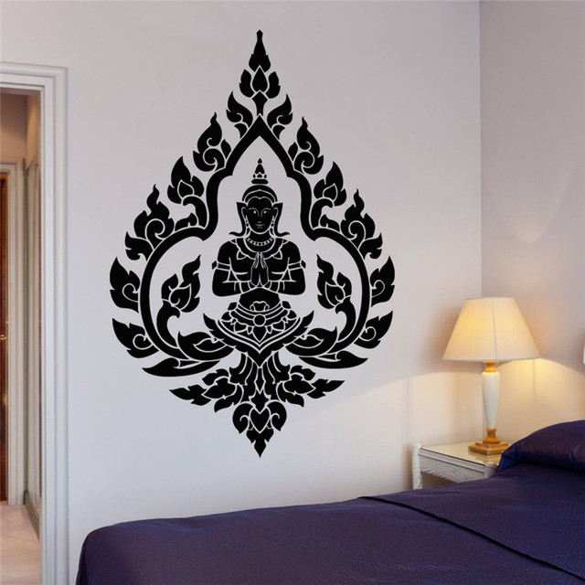 Indian Zen Meditation Vinyl Wall Decals Buddha Buddhism Wall Sticker Home  Room Art Decorative Removable Wall