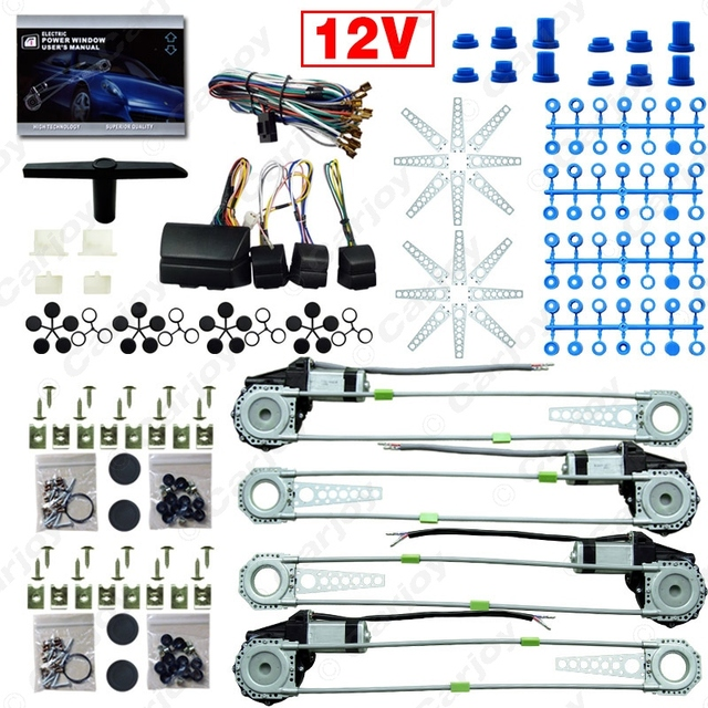 DC12V Car/Auto Universal 4 Doors Electronice Power Window kits With 8pcs/Set Swithces and Harness  #CA2845