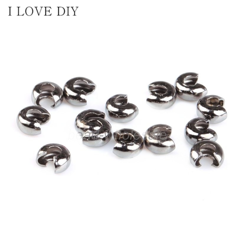 200Pcs /lot 3mm Silver Plated Crimp Beads Knot Covers End