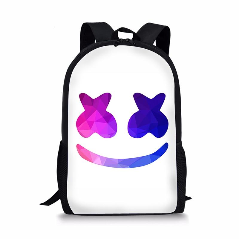 c4f5de3206af 3D Marshmello Backpack Female School Supplies Satchel Casual Book Bag  School Bag for Kids Boy Girls