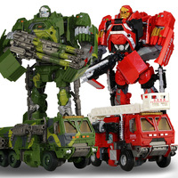 JINJIANG 30cm Height Transformation Deformation Robot Toy Fire Truck Military Vehicle Action Figures Toys