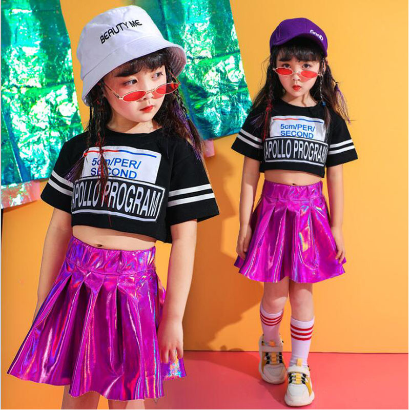 Kids Sequined Hip Hop Clothing Girls Tshirt Skirt Jazz Dance Wear Costumes Ballroom Dancing Wear Cheerleader Stage Outfits