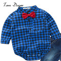 2016 hot sale baby boys clothes spring autumn casual style kids costume plaid printed shirt 2 colors to choose