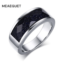 Meaeguet Blue Gravel Stone Wedding Rings For Men Blue Sand Stainless Steel Male Anel Jewelry Gift