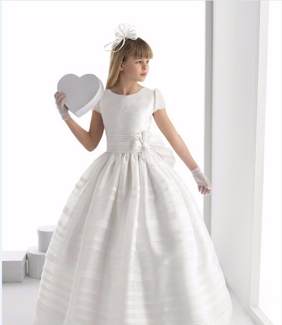 New 2017 First Communion   Dresses   For   Girls   Short Sleeve scoop   flower   Pearls White   Flower     Girl     Dresses   for Weddings