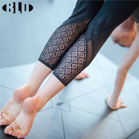 Lace Design Yoga Pants Running Tights Women 3 4 Length Fitness Gym Leggings Calzas Deportivas Mujer