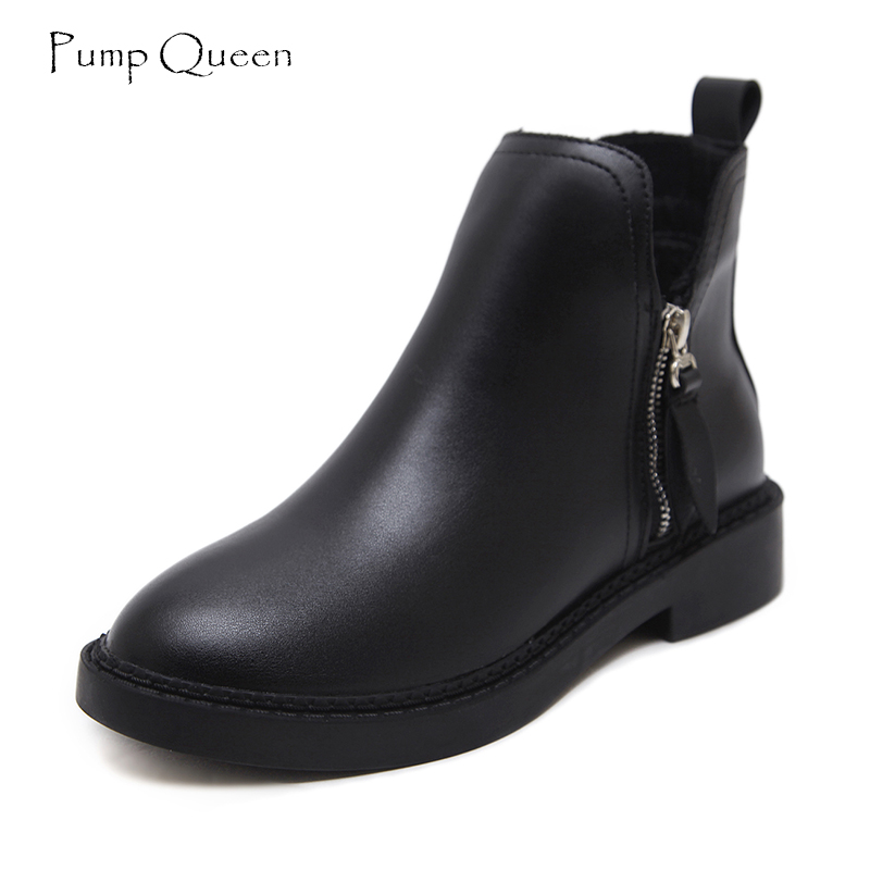 PumpQueen Boots Women Shoes Black Ankle Boots for Women 2018 Spring New Arrival Casual Leather Boot Flat Round Toe Zipper Size40 new arrival women genuine leather flat ankle boots fashion round toe lace up ankle boots for women ladies casual cow suede boots