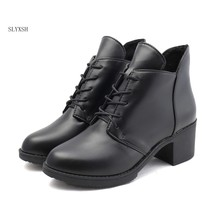 New Women Fashions Boots Women's Shoes Mother black and red high-heel boots Rubber Spring/ Autumn Shoes Woman Size 35-40(China)