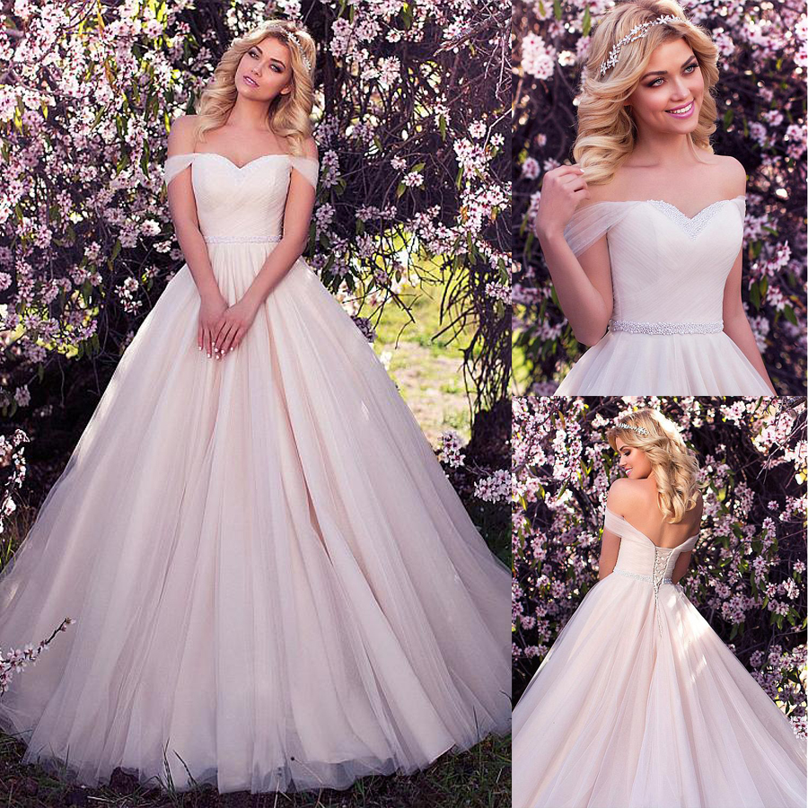 Fabulous Tulle Off The Shoulder Neckline Ball Gown Wedding