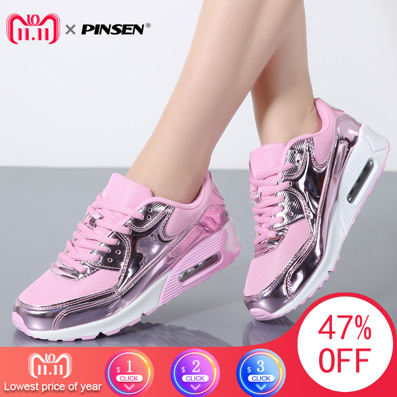 PINSEN Fashion 2017 Casual Shoes Woman Summer Comfortable Breathable Mesh Flats Female Platform Sneakers Women Chaussure Femme цена