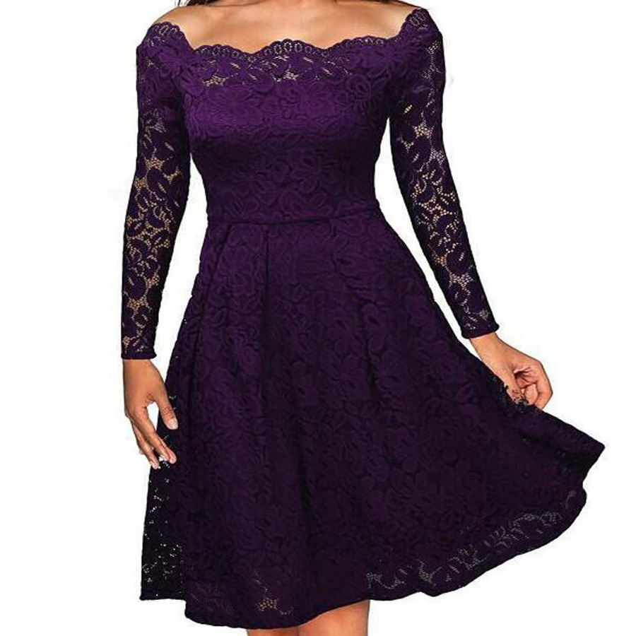 Europe Station Heat Sell Grace High-quality Sexy Lace One The Word Strapless Will Pendulum Dress