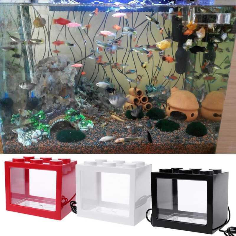 Usb Mini Aquarium Ikan Tangki Dengan Led Lampu Lampu Ikan Cupang Pertempuran Silinder Aliexpress