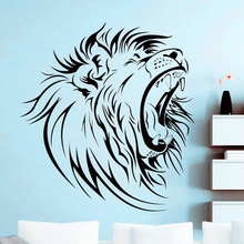 Popular Africa Wild Lion Head Wall Sticker Art Home Room Decoration Vinyl Decals Removable Animal Mural Y-700