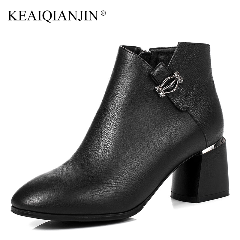 KEAIQIANJIN Woman Studded Ankle Boots Autumn Winter Plus Size 33 - 44 Crystal High Heel Boots Black Genuine Leather Martins Bota keaiqianjin woman studded snow boots pink black winter genuine leather flat shoes flower platform fur crystal ankle boot 2017