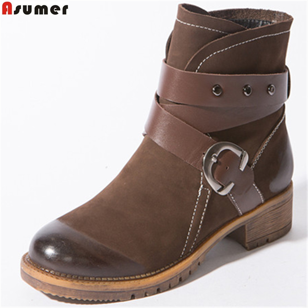 Asumer brown black fashion women boots round toe slip on genuine leather boots square heel buckle ankle boots cow leather memunia fashion women boots round toe genuine leather boots zipper square heel wool keep warm cow leather mid calf boots